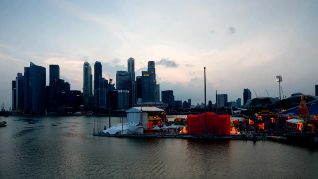 river hongbao singapore - dusk to night stock videos and b-roll footage