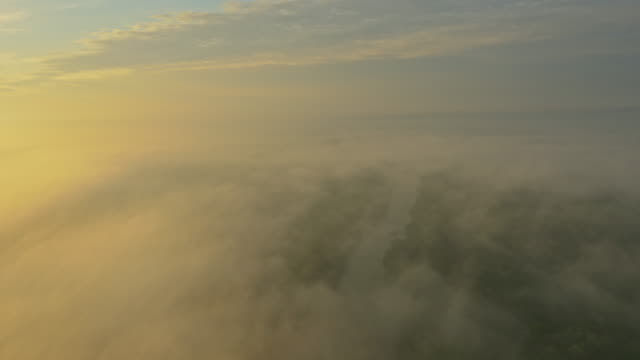 aerial river in a foggy morning - prekmurje stock videos & royalty-free footage
