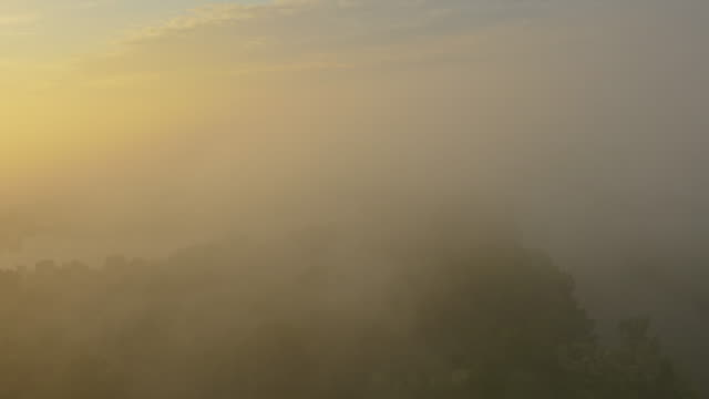 aerial river in a foggy sunrise - prekmurje stock videos & royalty-free footage