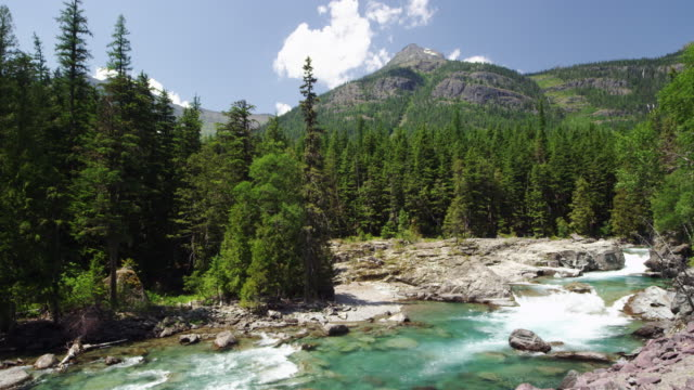 River in Glacier National Park slow motion.