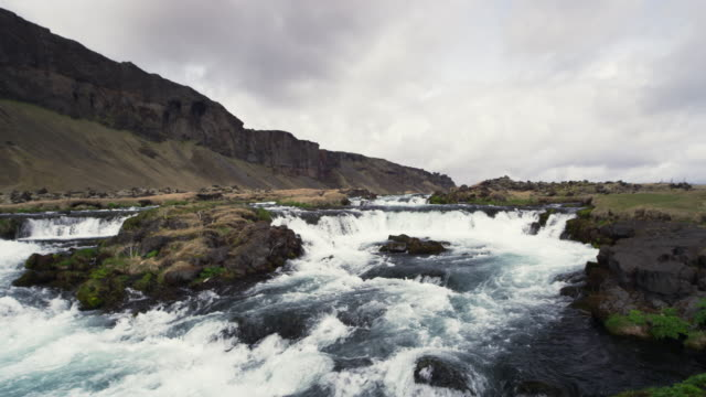 River in Iceland with clouds in slow motion