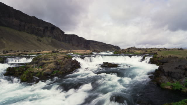 river in Iceland with mountains and clouds time lapse