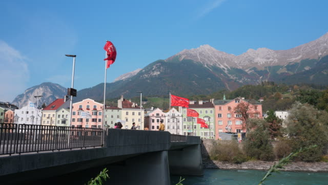 river in innsbruck city with mountains view, tyrol, austria. - nordkette mountain stock videos and b-roll footage