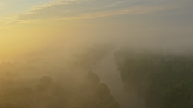 aerial river in the fog - prekmurje stock videos & royalty-free footage