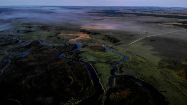 River in the morning mist. Aerial view