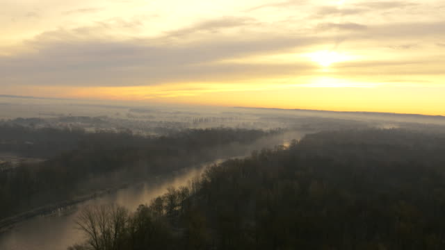 luftbild der river in den morgen nebel - multikopter stock-videos und b-roll-filmmaterial