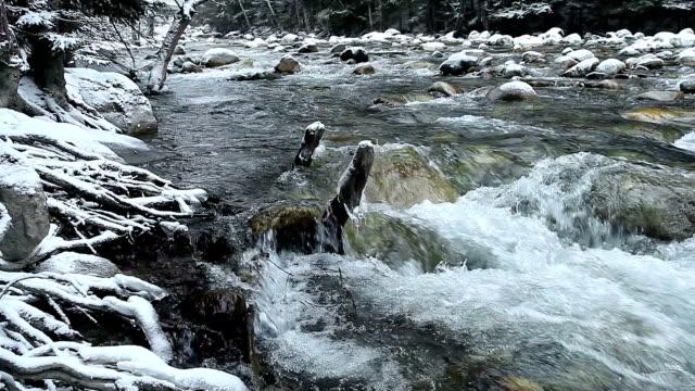 vidéos et rushes de rivière dans les montagnes du caucase - neige fraîche
