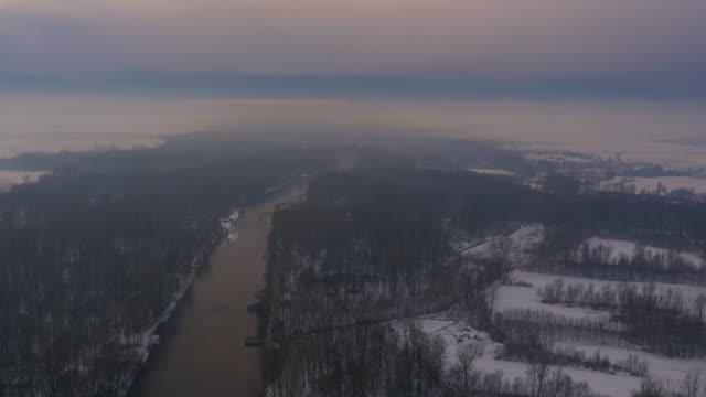 aerial river in the rain - prekmurje stock videos & royalty-free footage