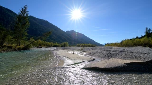river isar in autumn with sun, vorderriss, wallgau, isarwinkel, upper bavaria, bavaria, germany, european alps - viewpoint stock videos & royalty-free footage