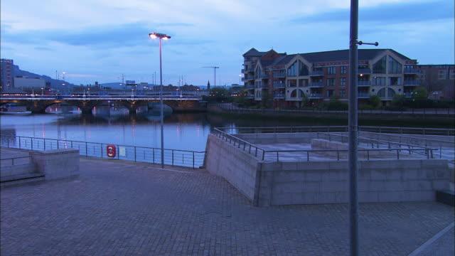 river lagan at dusk, belfast, northern ireland - river lagan stock videos & royalty-free footage