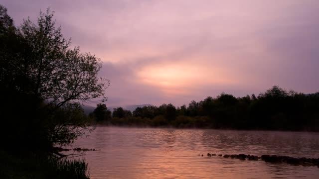 river main at sunrise in spring, bürgstadt, miltenberg, churfranken, spessart, franconia, bavaria, germany - バイエルン州点の映像素材/bロール