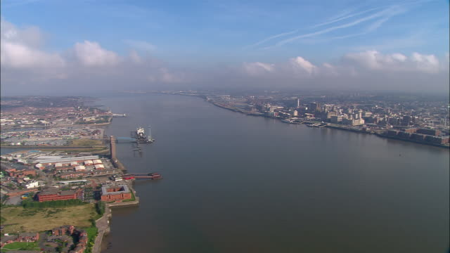 AERIAL, River Mersey and Liverpool, England