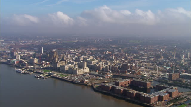 aerial, river mersey and liverpool, england - liverpool england stock videos & royalty-free footage