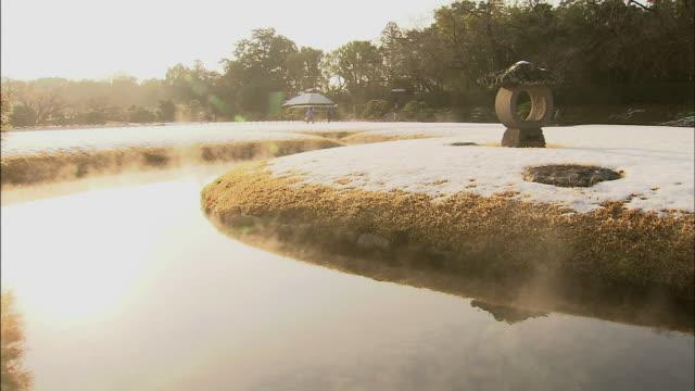 river mist  close up k_raku-en garden - 整形式庭園点の映像素材/bロール
