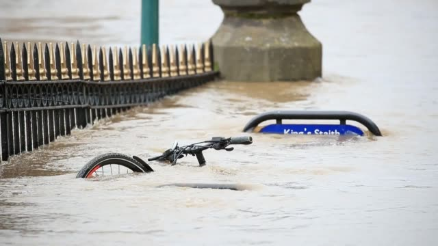 river ouse burst its banks in york in the aftermath of storm ciara which lashed the country sunday. floos alerts have been issued for the upper river... - river ouse stock videos & royalty-free footage