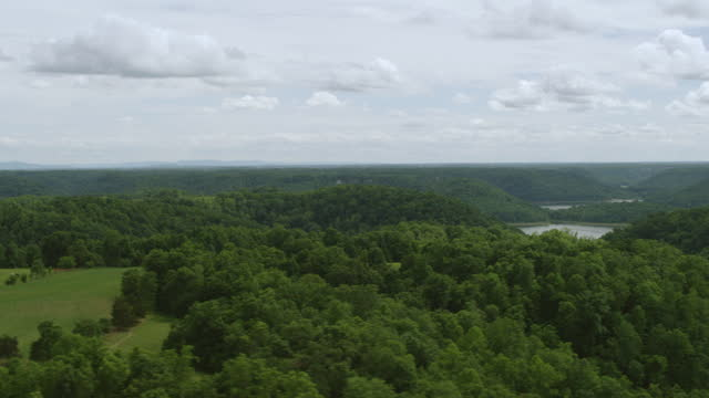 WS AERIAL POV River passing through forest area / Putnam County, Tennessee, United States