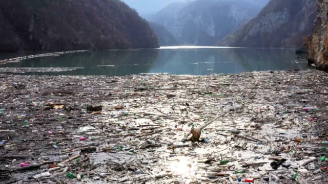 vídeos de stock e filmes b-roll de river polluted with garbage - poluição de água
