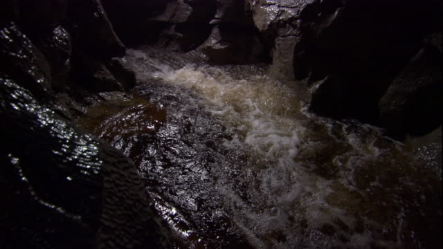 river rapids rush through a cave. available in hd. - cave stock videos & royalty-free footage