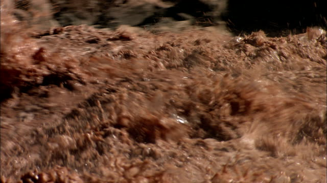 river rapids stir up sediment and turn the water brown. - wildwasser fluss stock-videos und b-roll-filmmaterial