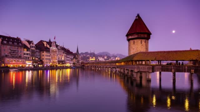 River Reuss Sunset with Lucerne Wasserturm - Time Lapse