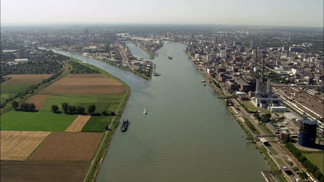 river rhine at ludwigshafen  - aerial view - baden-württemberg,  karlsruhe region,  stadtkreis mannheim helicopter filming,  aerial video,  cineflex,  establishing shot,  germany - baden wurttemberg stock videos and b-roll footage
