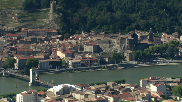 low aerial, river rhone between tournon sur rhone and tain l'hermitage, rhone-alpes, france - rhone river stock videos & royalty-free footage