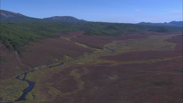 a river runs through a valley in the kamchatka peninsula. - wilderness stock videos and b-roll footage