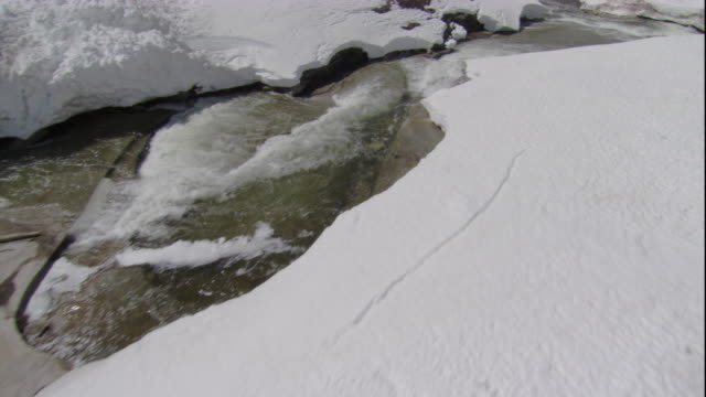 A river rushes over a granite bed between snowy banks. Available in HD.