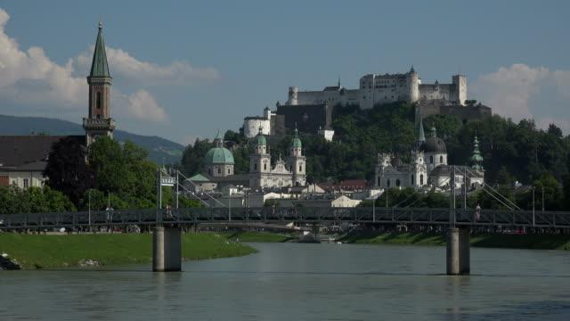 River Salzach with Cathedral, Collegiate Church and Fortress Hohensalzburg, Salzburg, Austria