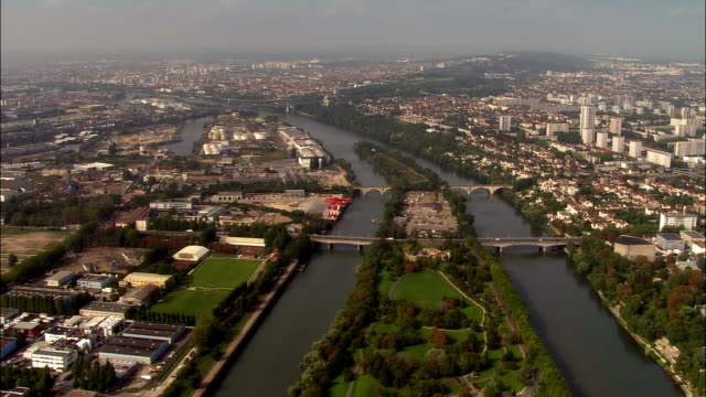AERIAL River Seine and Ile. St. Denis  north of city/ Paris, France