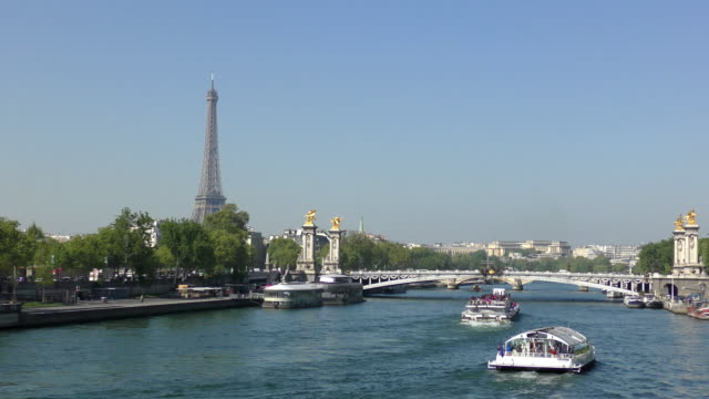 river seine - paris, france - tourboat stock videos & royalty-free footage