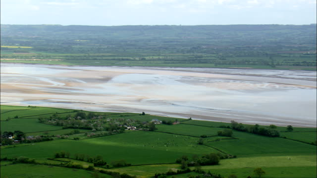 river severn estuary  - aerial view - england,  south gloucestershire,  aust,  united kingdom - estuary stock videos & royalty-free footage