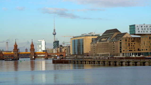 river spree with ship and oberbaumbrücke in berlin, timelapse - river spree stock videos & royalty-free footage