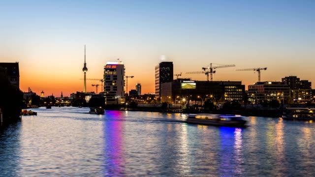 river spree with skyline berlin, time lapse - river spree stock videos & royalty-free footage