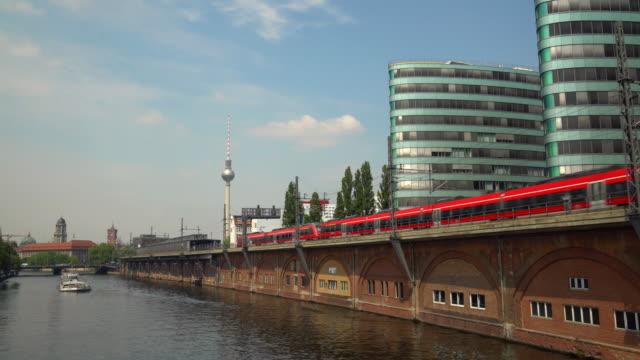 Spree mit Zügen in Berlin