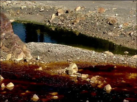 river, stained by mineral ores, rio tinto, huelva, andalusia, spain - huelva province stock videos & royalty-free footage