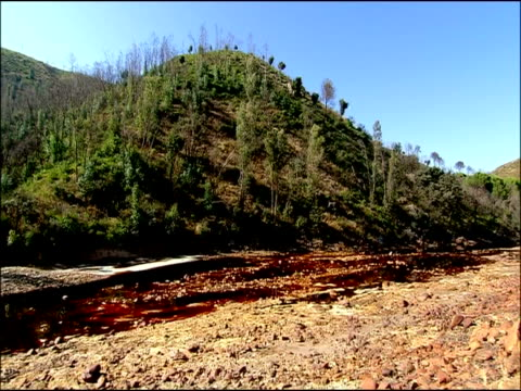 river stained by mineral ores, rio tinto, huelva, andalusia, spain - huelva province stock videos & royalty-free footage