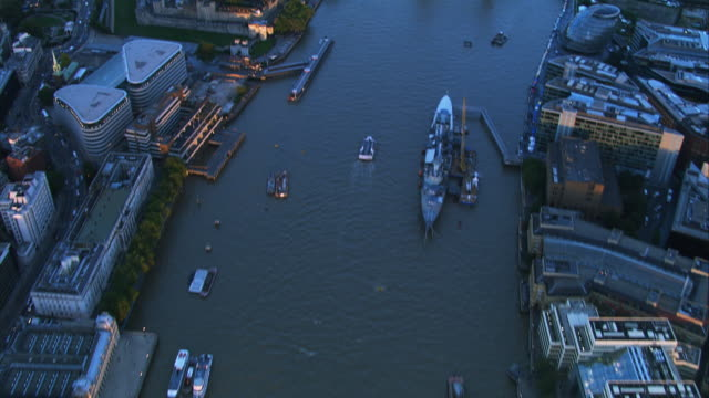river thames, london. england, hd aerial footage - tower bridge stock videos & royalty-free footage