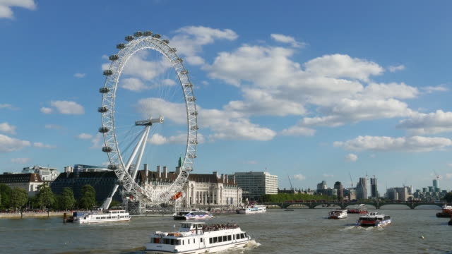 river thames, london eye, and south bank - millennium wheel stock videos & royalty-free footage