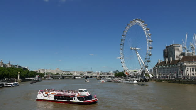 river thames london eye and south bank - millennium wheel stock videos & royalty-free footage