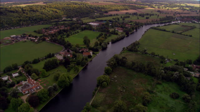 river thames near marlow - aerial view - england, windsor and maidenhead, bisham, united kingdom - berkshire england stock videos & royalty-free footage