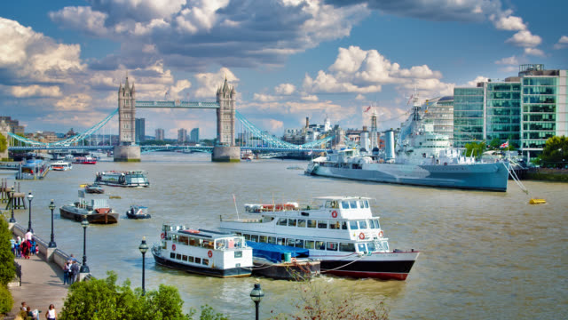 river thames panorama. tower bridge. hms belfast. imperial war museums. london. business downtown. - london bridge england stock videos & royalty-free footage