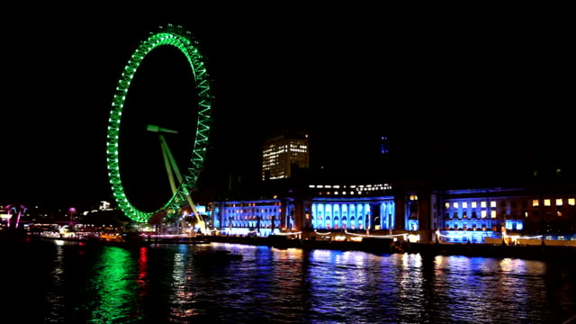 hd: river thames with london eye - millennium wheel stock videos & royalty-free footage
