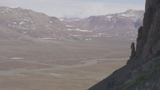river, tundra and cliff face, greenland - cliff stock videos & royalty-free footage