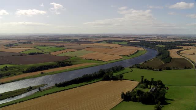 river tweed near berwick upon tweed  - aerial view - england, northumberland, united kingdom - northumberland stock videos & royalty-free footage