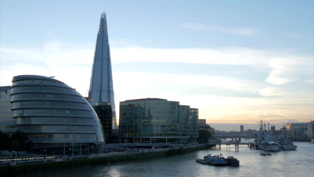 River view of the GLA Building and the Shard at Dusk