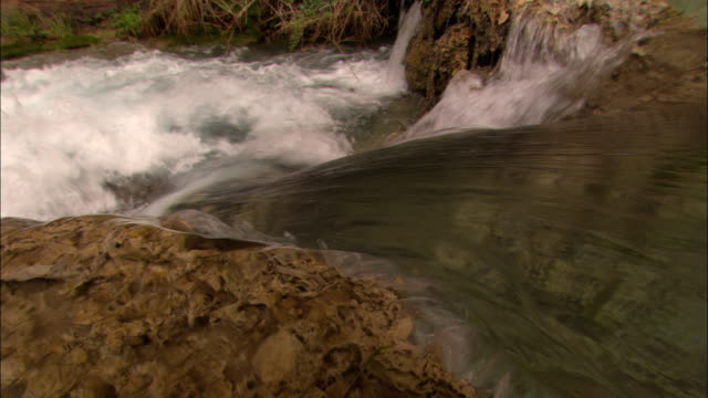 vídeos de stock, filmes e b-roll de river water flows down between rocks. - geologia