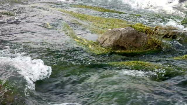 River waterfall rock moss