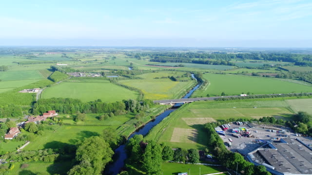 River Wharfe Approaching A64 by Tadcaster 4K Aerial Video