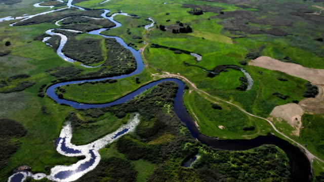 river winding among meadows - poland stock videos & royalty-free footage